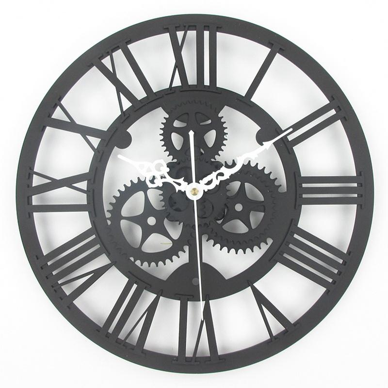 Wholesale Large Antique Wall Clock 3D Acrylic Gear Wall Clock Vintage Retro  Style Living Room Big Watch Clock Horloge Murale Mirror Wall Clocks Large  ...