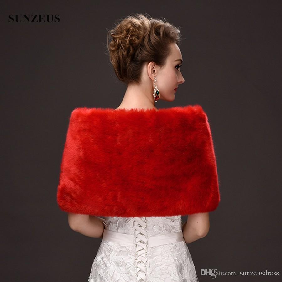 Cape Ivory Red Evening Shawls Short Bridal Bolero Wraps Faux Fur Stole Short Winter Wedding Dress Shrugs