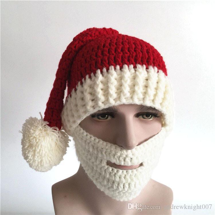 Unisex Cute Christmas Knitting Beard Mask Cap Men Women Winter Santa Claus  Cosplay Warm Ear Skiing Hat Headgear DK6603FH Beanies For Girls Baby Hat  From ... c8873fbf7