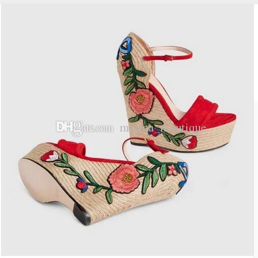 494c30af4457 New 2018 Women Platform Wedge Sandals Suede Ankle Strap Summer Shoes Woman  Embroidery Heels Zapatos Mujer Gladiator Mens Sandals Reef Sandals From ...
