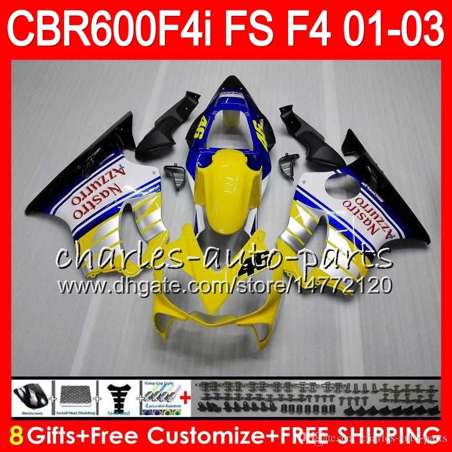 8Gifts For HONDA CBR 600 F4i 01-03 CBR600FS FS 28HM14 Yellow white CBR600 F4i 2001 2002 2003 CBR 600F4i CBR600F4i 01 02 03 Fairing