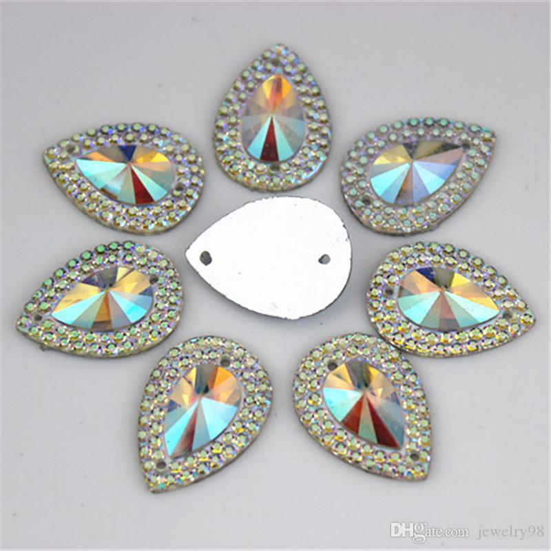 13 * 18mm 100 pçs / lote AB Cristal Superior Taiwan Acrílico Plano de Volta Forma de Gota de Strass Acrílico Costurar Em 2 Hole beads ZZ36