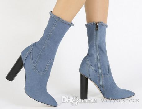 9d278c8d06c5 2017 Summer Dress Shoes Legging Denim Boots Mid Calf Booties Peep Toe Party Shoes  Chunky Heel Gladiator Sandals Lady Boots Blue Denim Footwear Fringe Boots  ...
