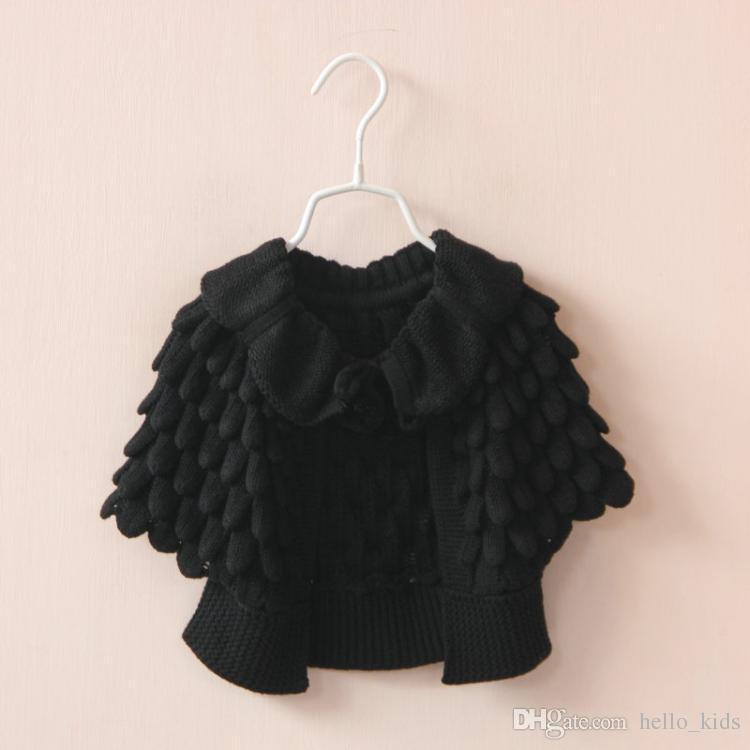 2017 Spring Autumn Baby Girls Hollow knit sweater Child's Cape Poncho Outwear Kids Clothing