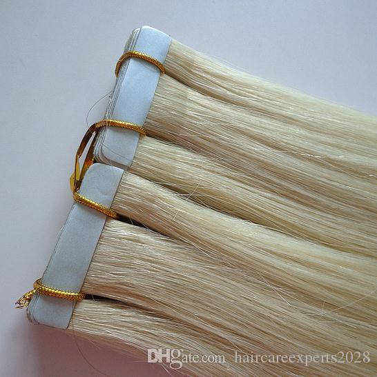 """wholesale -40s/pack 2.5g/p 22"""" Tape In Human Hair Extensions #60#613 platinum blonde 100%Brazilian Hair dhl Fast shipping"""
