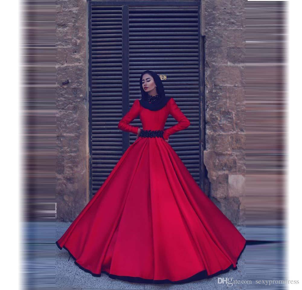Manga larga roja Vestidos de noche musulmanes Cuello alto Una línea Vestidos de baile con cinturón moldeado Tren largo Arabia Saudita Dubai Vestidos de fiesta formales