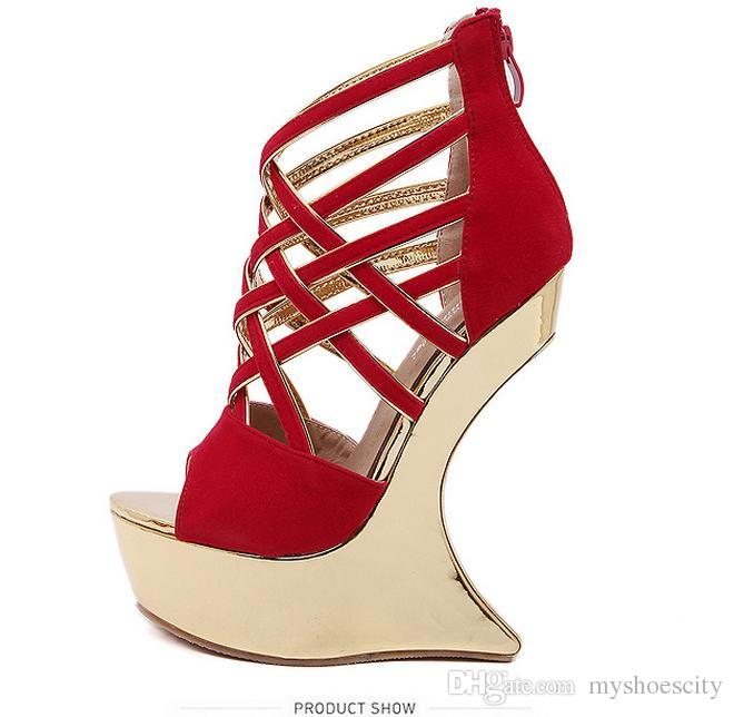 07fa96dd8a5 Gold Cross Strap Strange Heel Platform Wedges Wedding Shoes Red Black Size  34 To 40 Mens Trainers Walking Shoes From Myshoescity
