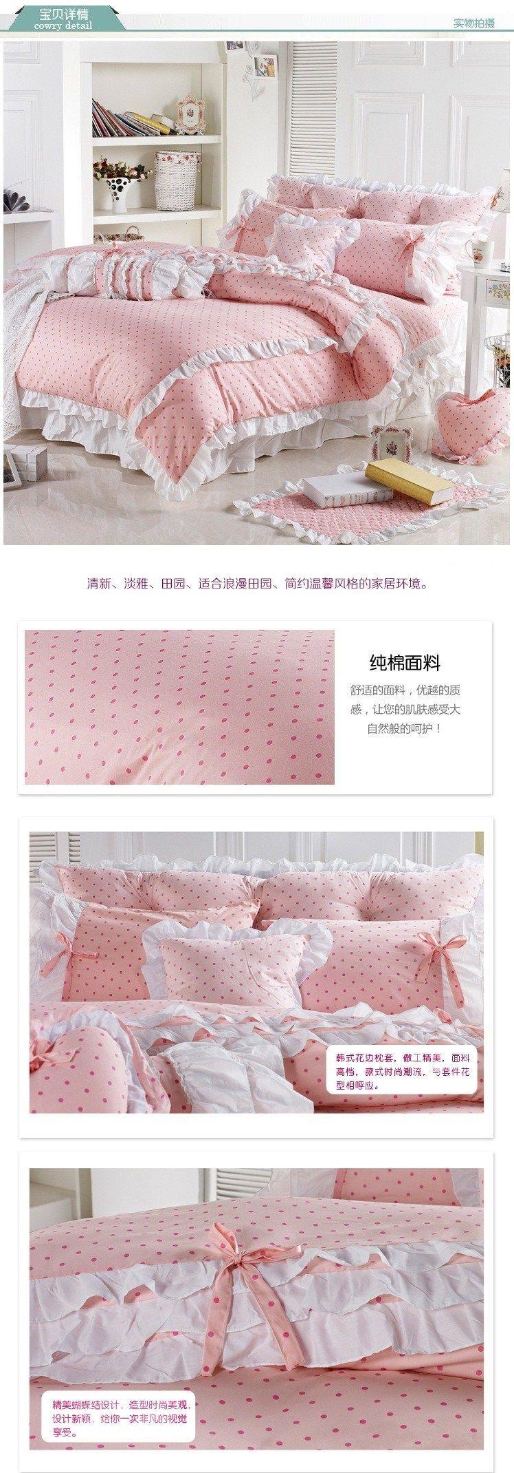 polk dots sweet home bedding kit cotton duvet cover sets princess bedding set king size girls home bedskirt