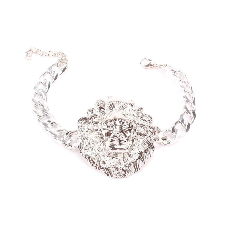 Hot Sale Jewelry Sets Silver Plated Necklace Earrings Bracelet Ring Vintage Lion Head Pendant Fashion Jewelry Sets