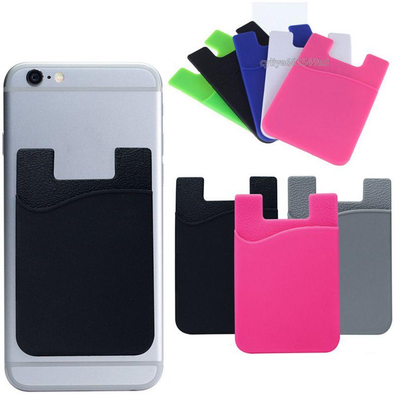 Carteira de silicone Cartão de Crédito Dinheiro do bolso adesivo 3M Adhesive pau-de titular do cartão ID Pouch Gadget para o iPhone Samsung Mobile Phone