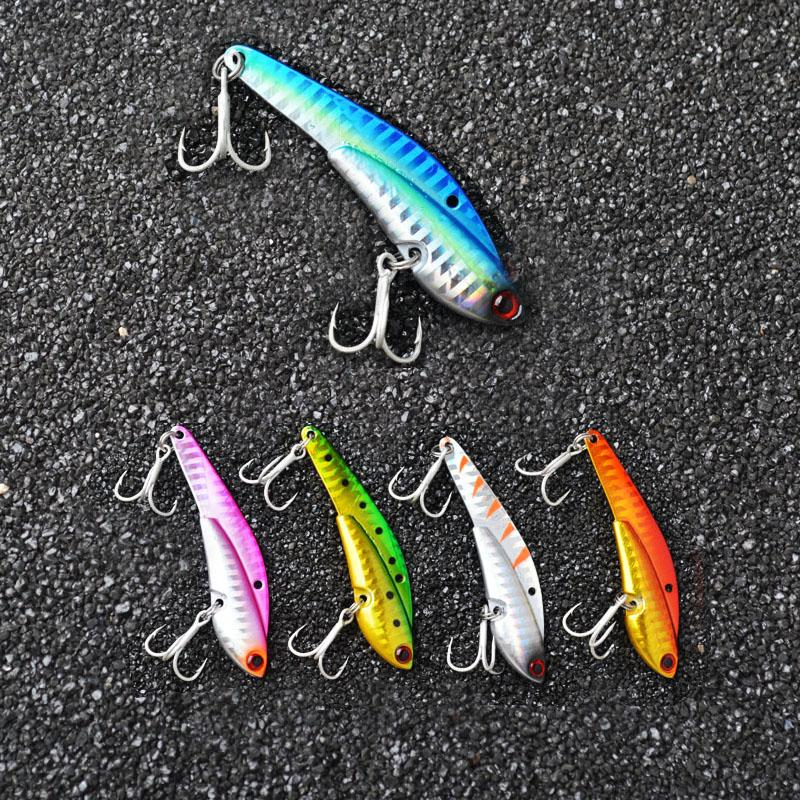Toma 5Pcs/Lot Metal Vib Spoon Fishing Lures Lead Fish 5Colors 26G 75Mm Lead Metal Lure Spoon Bait With Vmc Hooks Fishing Tackle