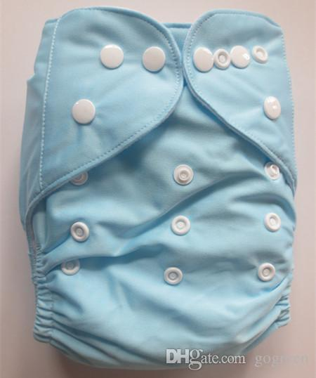 Hot Sales Plain Color Cloth Diapers Nappies Covers 5 +Insert One Size Reusable super soft tensile strength permeability