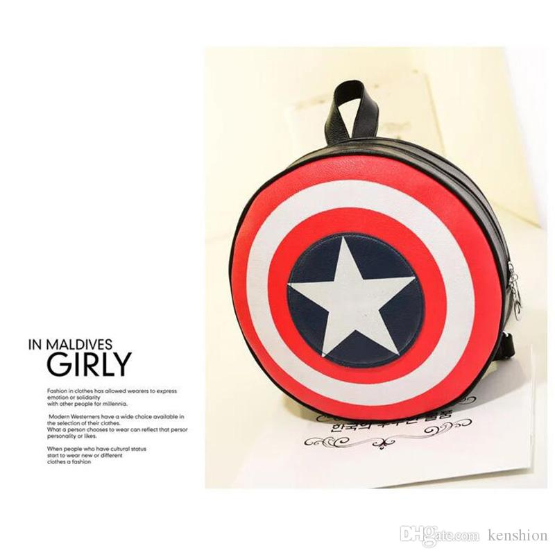 Cool Satchel Backpack Round Circle Five Stars Back pack bag Double Strap Shoulder Bags Handbag Cool Designer Cartoon Purse US Captain - RS