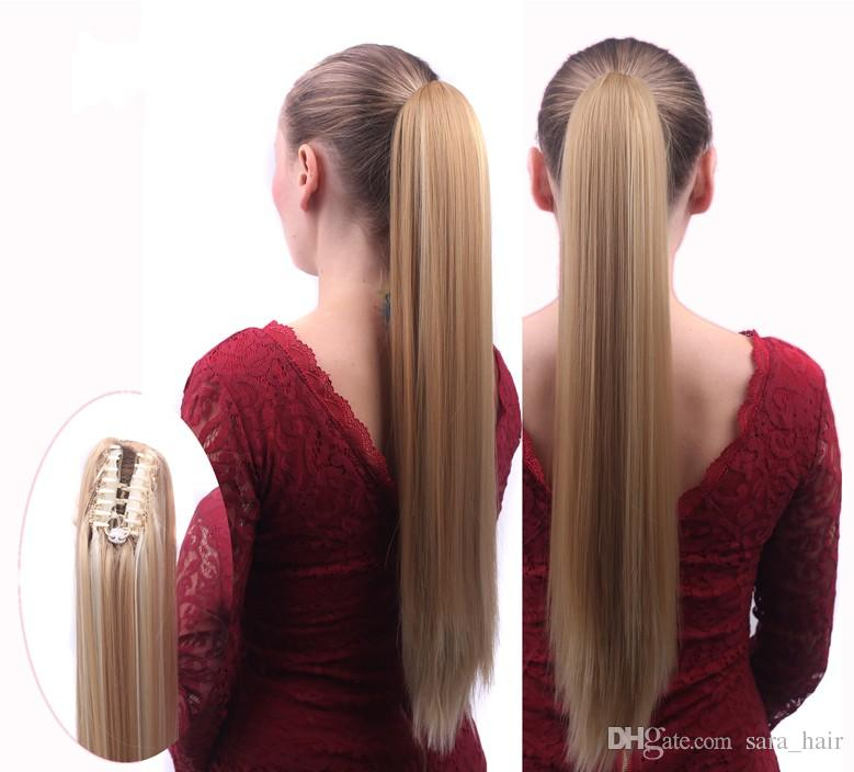 Sara claw clip jaw in ponytail hair extension synthetic hair sara claw clip jaw in ponytail hair extension synthetic hair straight pony tail hair extensions hairpieces 55cm22inch 130g fake hair ponytail holder fake pmusecretfo Gallery