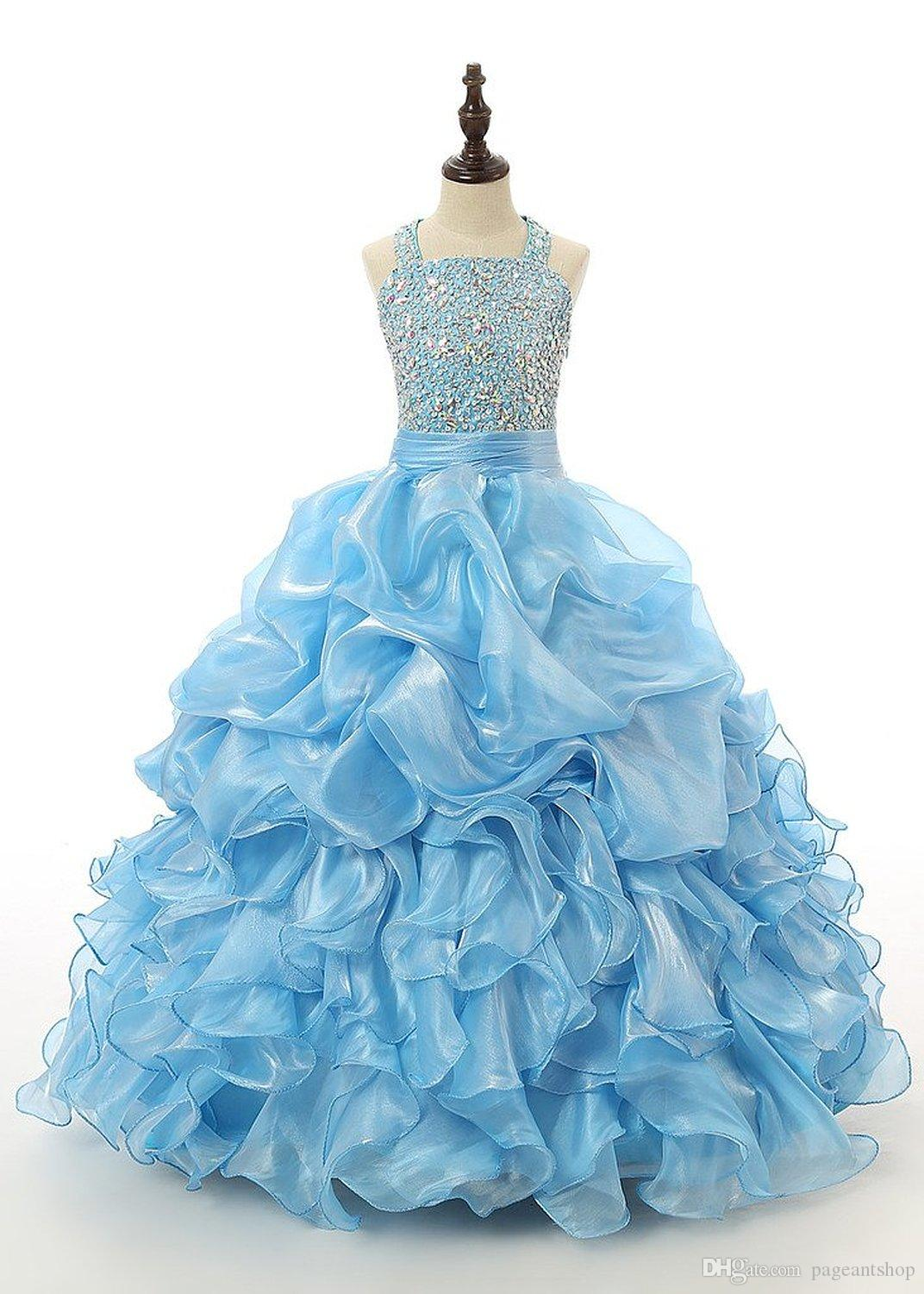 Turquoise Pageant Dresses For Girls Ruffles Crystal Kids Ball Gowns Princess Special Occasion Halter Dance Party Dresses Juniors Ball Gowns