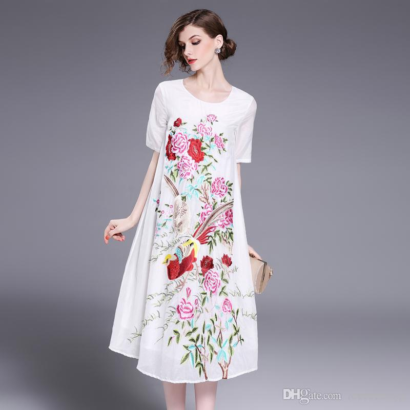 Long cotton blend dress plus size