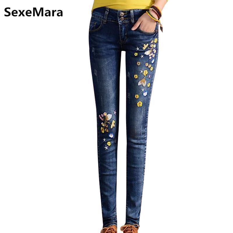 499114d2 Compre Moda Pantalones Vaqueros Bordados Mujer Bonita Primavera Mujeres  Algodón Cintura Alta Mujer Ocio Flores Bordado Pantalones Vaqueros Rasgados  Mujer A ...