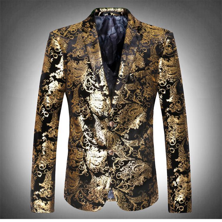 Compre Chaquetas De Impresión De Oro Negro Blazers Prom Chaqueta De Los  Hombres De Moda Traje Masculino Para La Estrella Del Bailarín Del Cantante  Show ... a2e6c684cbb