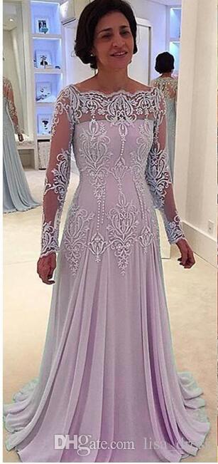 Gelin Damat Elbiseler Boncuklu Dantel Aplike Kadın Biçimsel Dress Vintage Uzun Kollu Anne