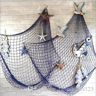 Mediterranean Style Decor Cotton Fabric Nautical Fish Bar Nautical ...