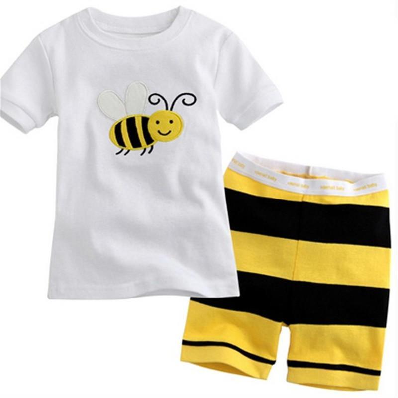 Hot Sale Sleepwear Kids Sets Short Sleeve Cartoon Boy Pajamas Set For Baby Sleep Wear Clothing 2-7 Year nightgown Pyjamas P08