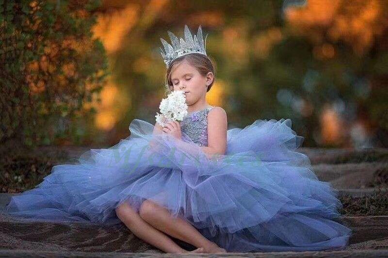 2018 Princess Purple High Low Puffy Girls Desfile de vestidos Flower Girls Dress Niños Junior Birthday Party Dress Prom Vestido de noche