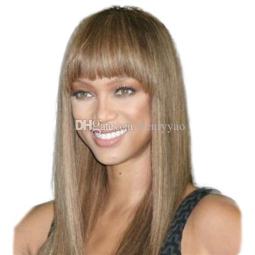Perucas sintéticas compridas peruca de cabelo em linha reta longa para as mulheres negras Peruca sintética de cabelo castanho Ombre bege