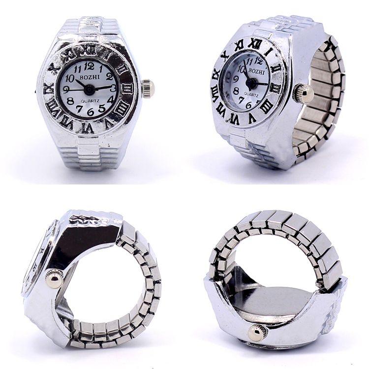 Fabrik Großverkauf Uhr Heißer Verkauf neuer Finger-Ringuhr Gummiband Finger-Ring-Uhr Freies Verschiffen