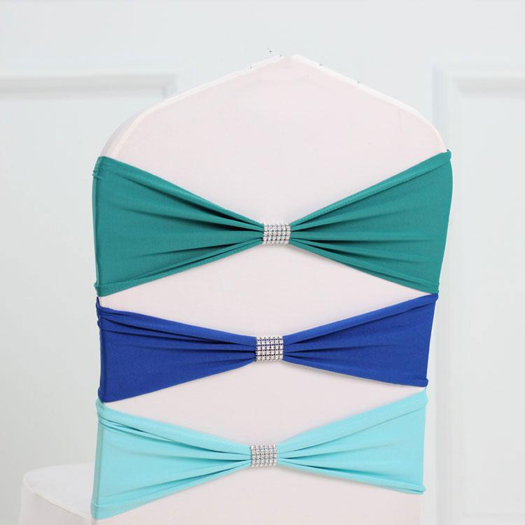 Black colour tie bands Lycra sash chair sash Bow tie ribbon For Wedding Party Banquet Decoration for sale with shiny belt