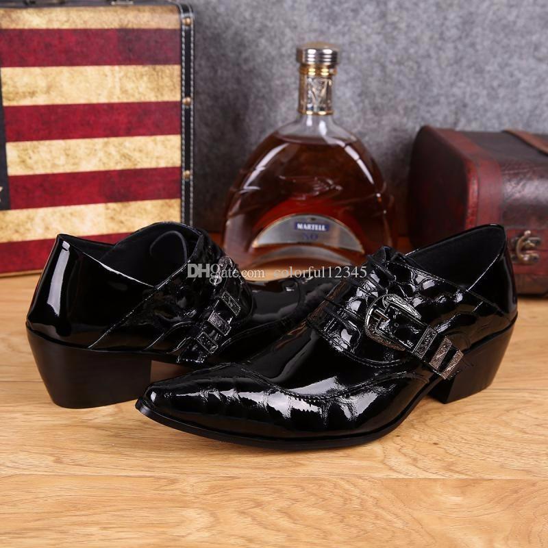 Moda Mans Negro Oxfords zapatos de cuero genuino de los hombres zapatos de vestir del dedo del pie puntiagudo estilo de negocios otoño botas de alta calidad grande 38-46