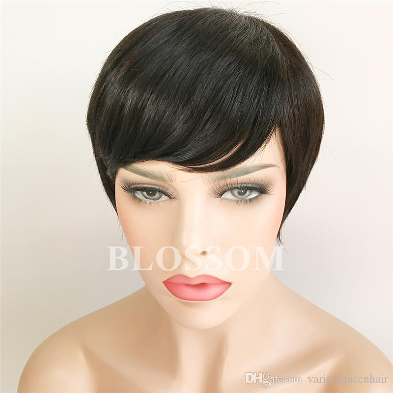 Pixie Very Short Glueless Full Lace Human Hair Wig Natural Black Cut Short Human Hair Glueless None Lace Wig For Black Women