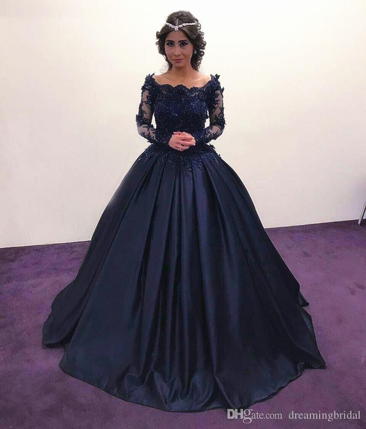 Élégant bleu marine manches longues robe de bal robes formelles col festonné dentelle appliques fleurs robes de soirée de plancher longueur de dentelle robe de bal