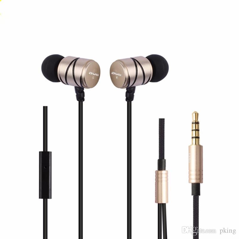 Awei Q5i Kulak Kulaklık On-cord Kontrolü Profesyonel Kulak Kulaklık 3.5mm Fiş Xiaomi Smartphone için Mic ile Detaylı Ses