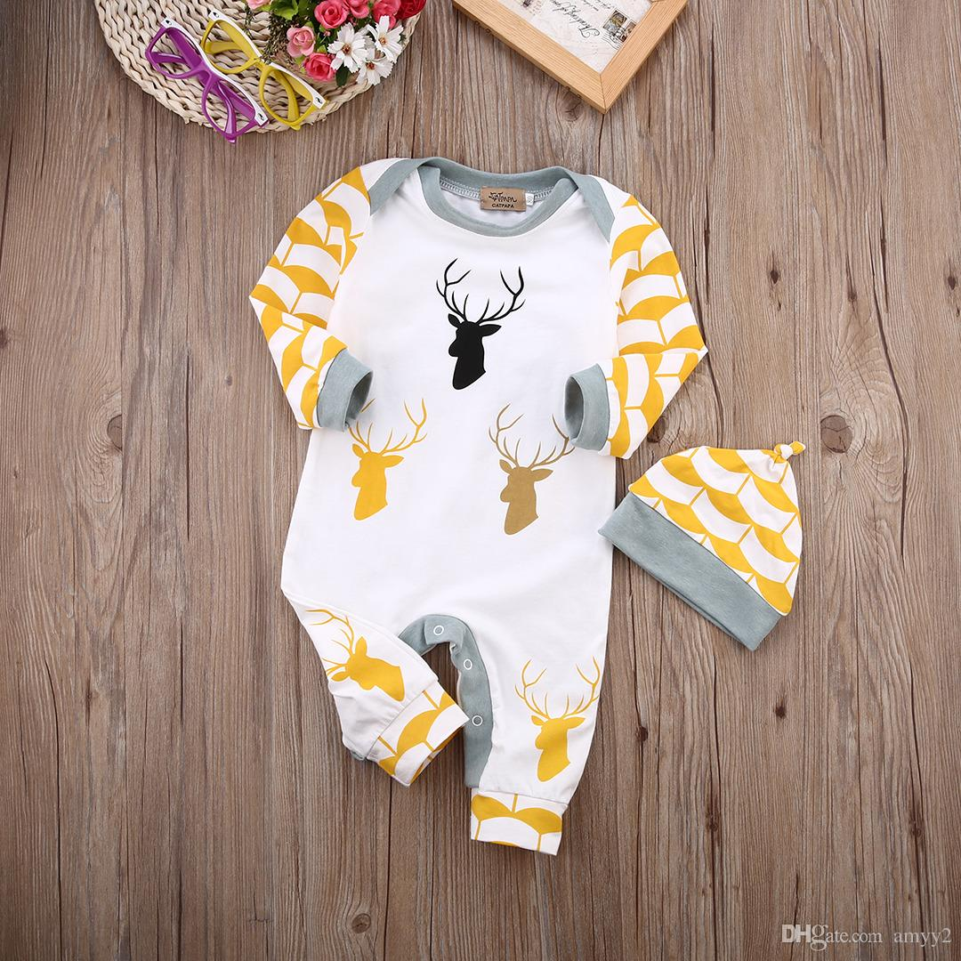 31ee4b42af2 2019 Romper   Hat Set Reindeer Bodysuit Baby Girl Preemie Christmas Yellow    White Striped Holiday Bodysuit Christmas Outfit From Amyy2