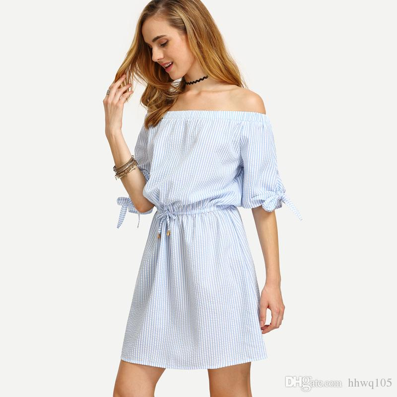 111195aa2e8 Women Blue Bardot Dress Striped Bow Tie Casual Shift Dresses Slash Neck  Short Sleeve Beach Dress Designer Summer Dresses ZSJG0528 Christmas Party  Dresses ...