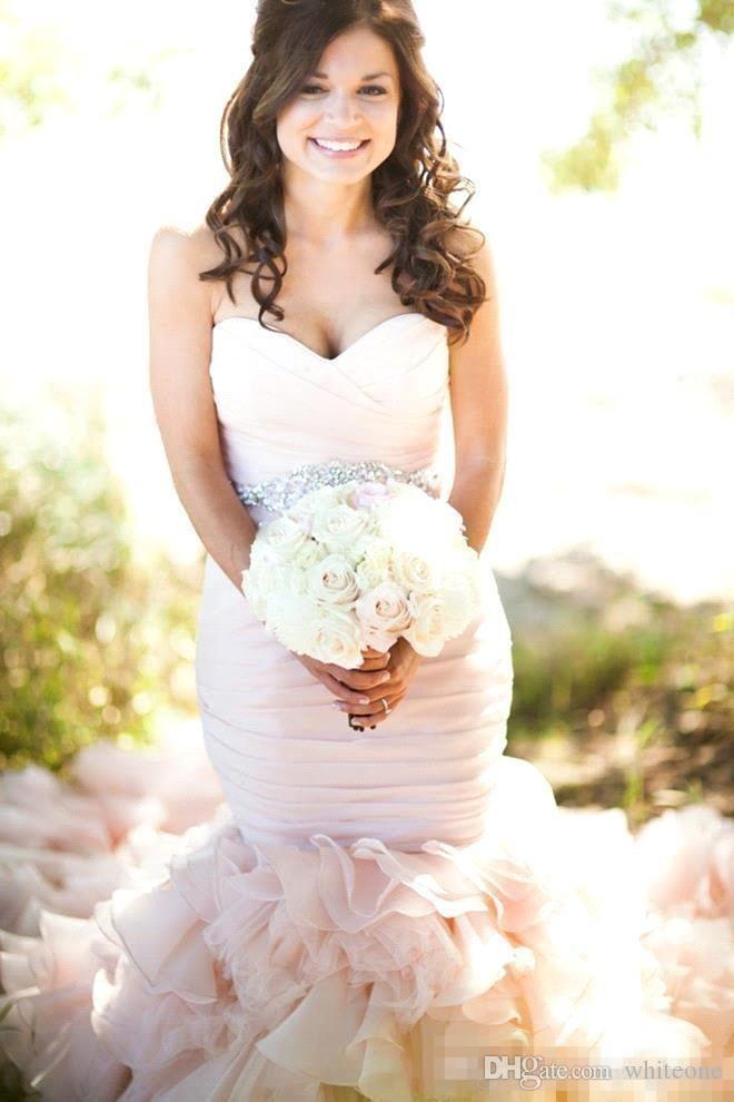 Vintage 2017 White Pink Plus Size Mermaid Wedding Dresses Sweetheart Pleats Cascading Ruffles Beaded Sash Corset Back Garden Bridal Gowns