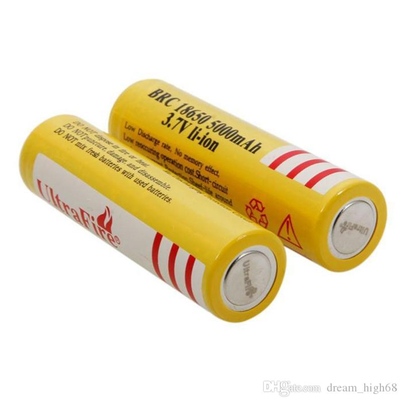 Желтый ультрасержевой 18650 высокая емкость 5000 мАч 3.7 В литий-ионный аккумулятор для светодиодного фонарика цифровой камеры литиевые батареи зарядное устройство
