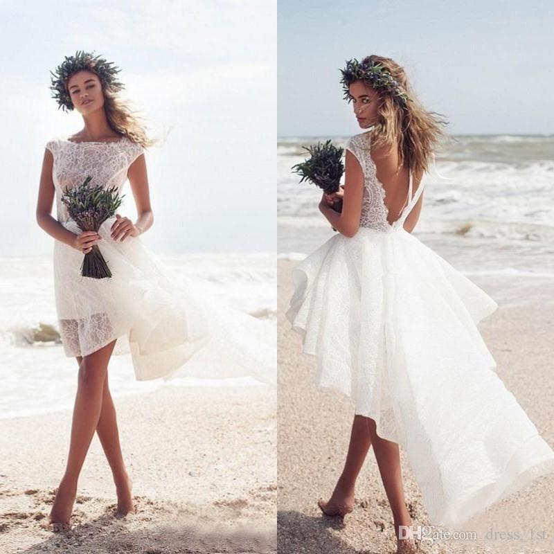 Short Beach Wedding Dresses with Sleeves