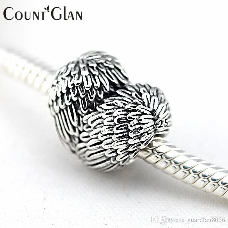 قلب 925 فضة الريش ملائكي الخرز يناسب باندورا سحر سوار الأصلي المعادن الأوروبي فضة مجوهرات