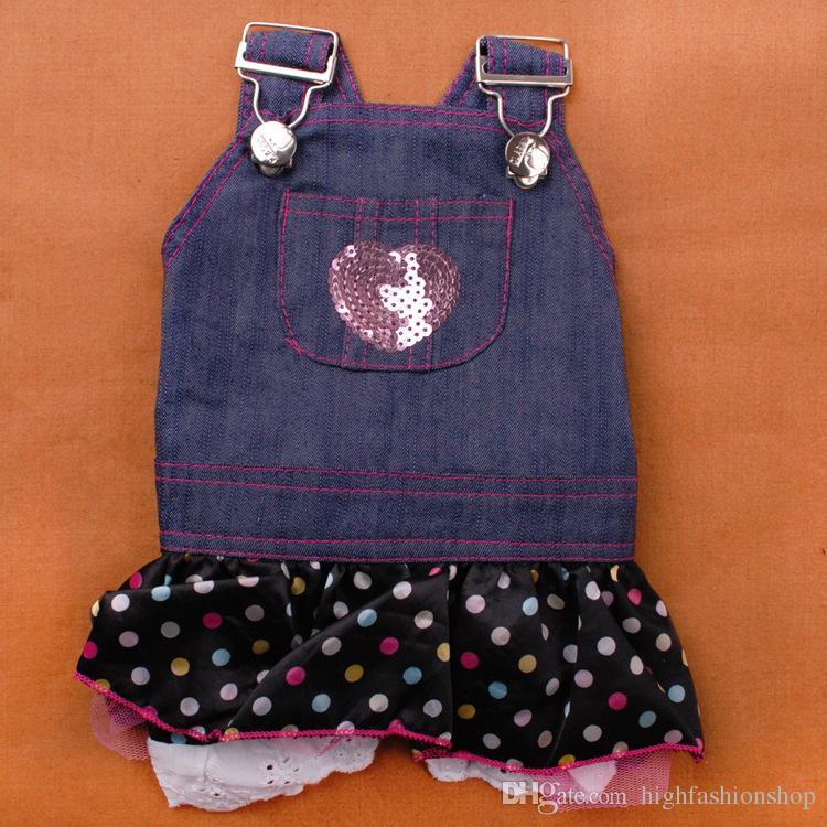 5 adet / grup Sıcak Satış Yeni varış bahar yaz pet köpek giysileri Pet Outerwears Jean elbise, Pet Etek XS-XL