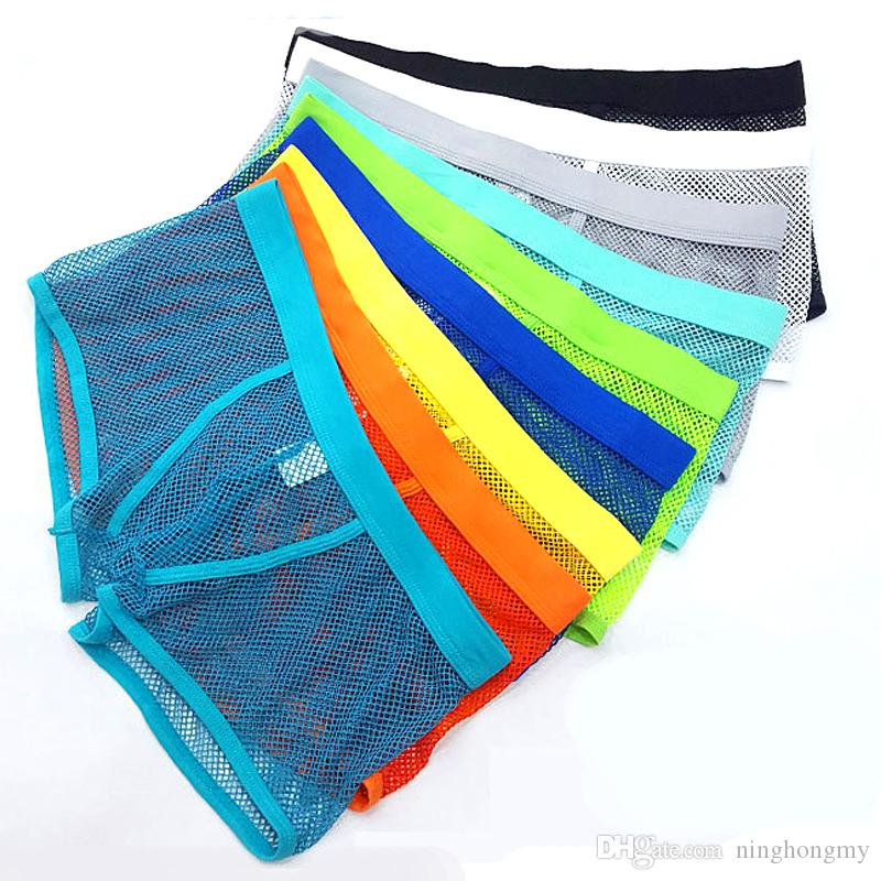 Hot Sale Men Mesh Breathable Boxer Shorts Brand Gay Underwear Summer Cool  Sexy Net Transparent Men Underwear Boxers Men Mesh Breathable Boxer Shorts  Summer ... 2b53e5518858