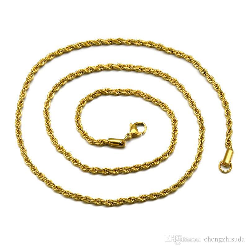 3/4 / 5mm 20/24 / 30inches Acciaio inossidabile Colori oro Catena corda Catena da uomo Collana Hip Hop Gioielli Stile stella