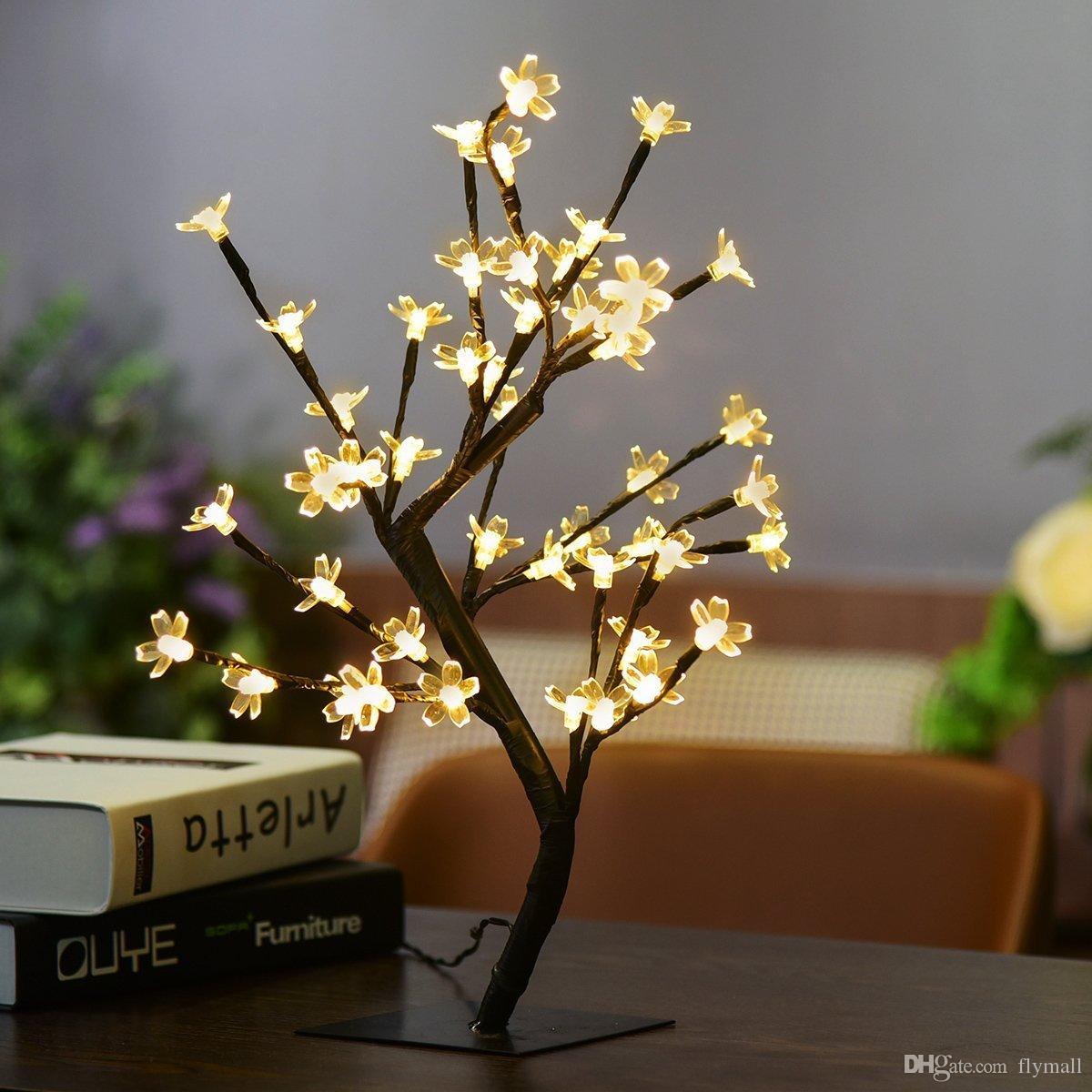 Crystal Cherry Blossom 48 LEDs Tree Light Night Lights Table Lamp 45cm Black Branches Lighting Christmas Party Wedding LED Flowers Lights