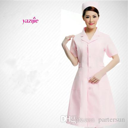 Nurse doctor white coat female short-sleeved summer uniform lab coat pharmacy business attire beautician overalls