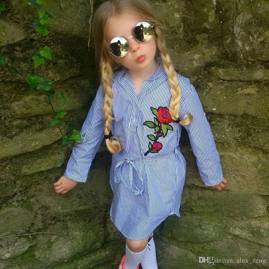 2017 جديد للأطفال فساتين اطفال بنات موضة روز زهرة مخطط بلوزة اللباس فتاة كم فستان طويل شحن مجاني