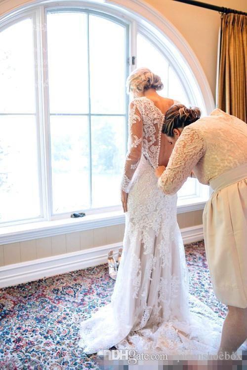 Country Style sirène dentelle à manches longues robes de mariée 2020 Vintage V-cou balayage train arabe femmes mariage Robes de mariée Robes de mariée