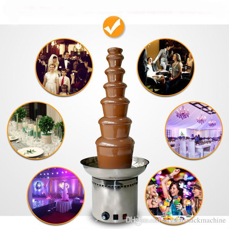 Große 7 steine kommerzielle schokoladenbrunnen maschine elektrische schokolade wasserfall maschine haushaltspartei use edelstahl