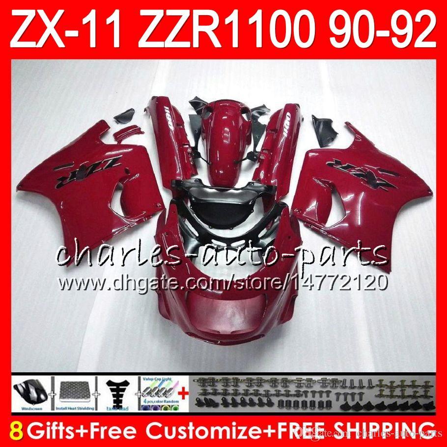 8Regalos es para KAWASAKI NINJA ZX11 ZX11R 90 91 92 ZZR 1100 rojo negro 21NO93 ZX 11 11R ZZR1100 ZX-11R ZX-11 1990 1991 1992 Kit de carenado