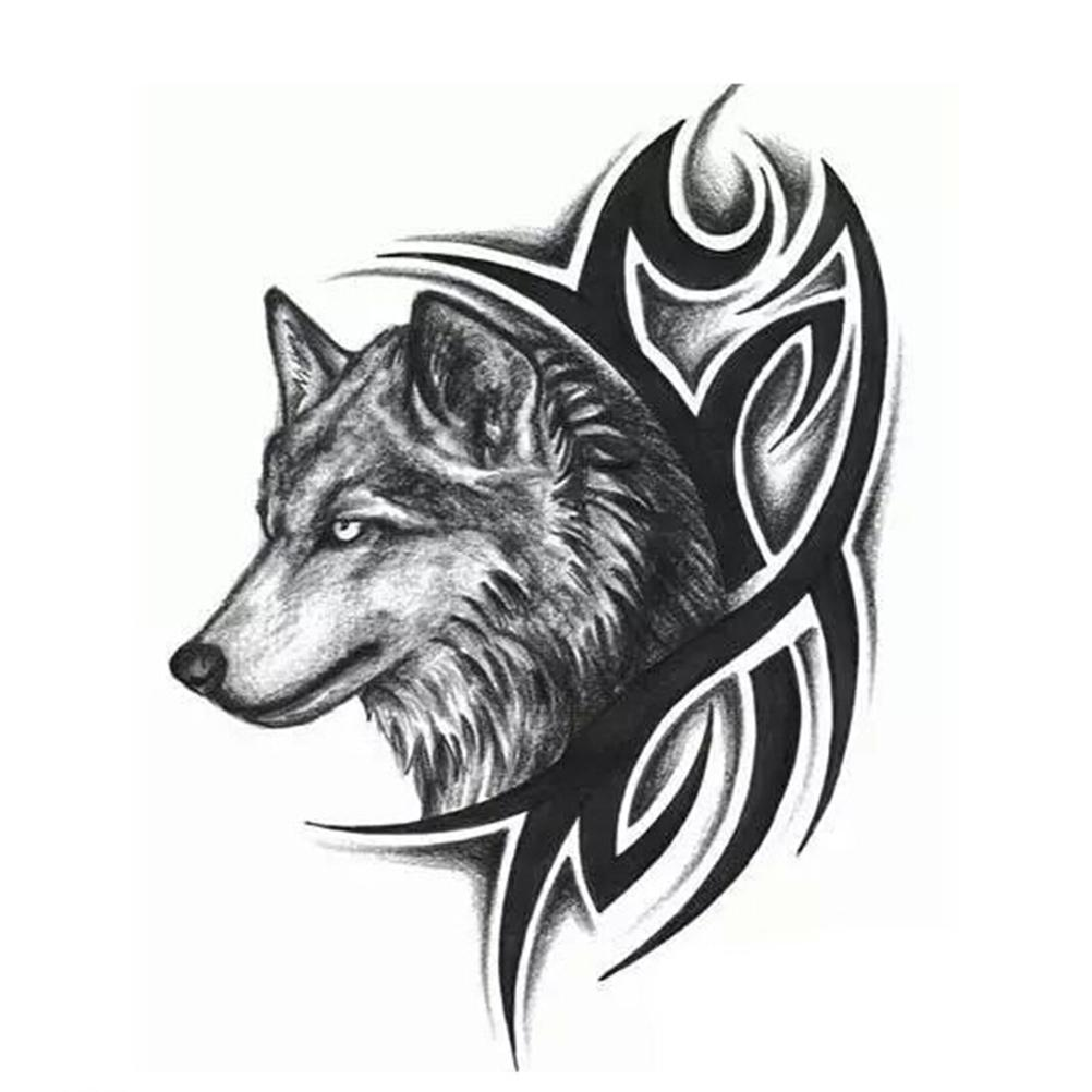 Wholesale Men Women Wolf Head Waterproof Temporary Tattoo Removable