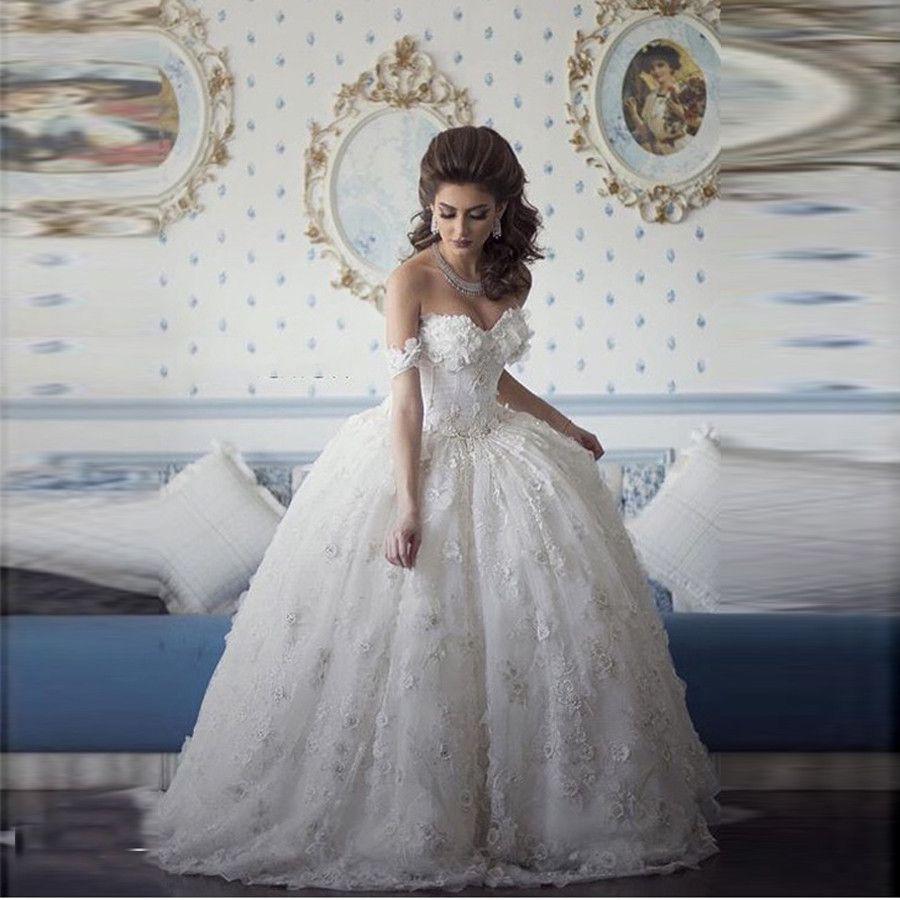 2017 Arabian Design Wedding Dresses Sweetheart Appliqued Beaded Floral Short Sleeve Puffy Bridal Dresses Ball Gown